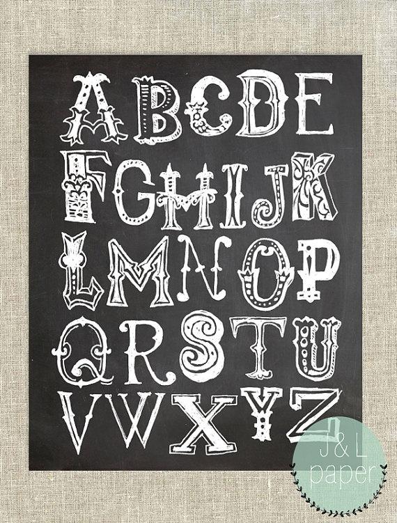 8x10 chalkboard alphabet art print by jandlpaper on etsy