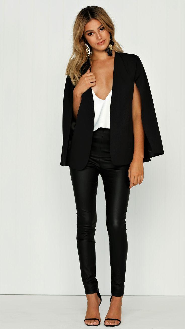 White Closet - Take Over Cape Blazer - Black