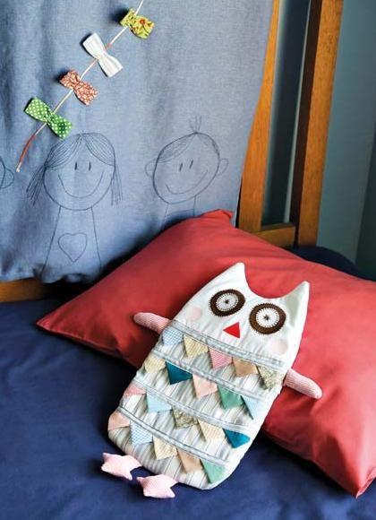 Artesanato com retalhos de tecido coruja com molde porta pijama