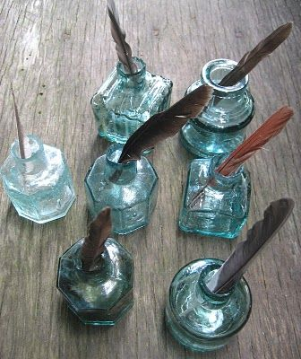 Blue ink bottles