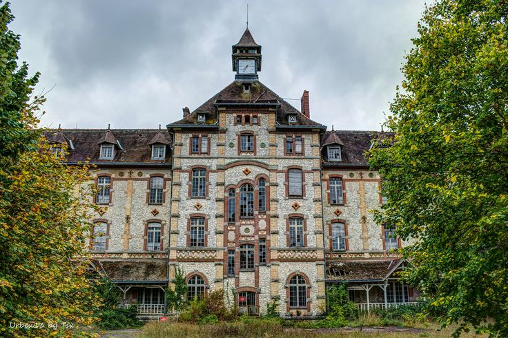 France, Castle of the Haute Barde - Built in 1906. It was an orphanage. Abandoned in 1939 but became a training center for future sports teachers after WW II. It then became a retirement and nursing home in 1952. Abandoned again in 1992 as it was too expensive to maintain.
