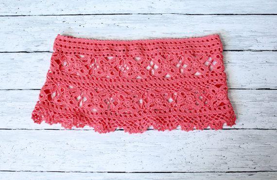 VERKOOP haak strand rok Haak CoverUp Coral Pink Mini Rok