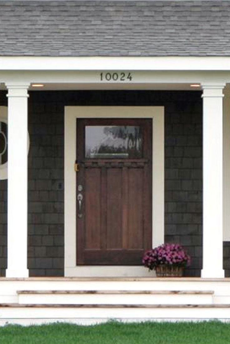Front door colors for light gray house - Elements Of Future Home May Include Wood Shingles Porch And Patio Spaces Gorgeous Wood Rustic Front Doorswood