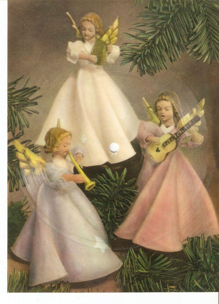 Old Musical 45rpm record Singing Postcard Stille Nacht Kammerchor Orgel Glocken