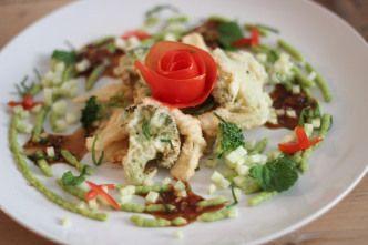 Tempura groenten met avocadocreme en oosterse vinaigrette