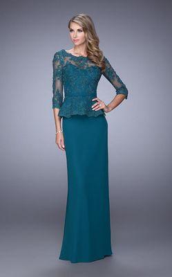 La Femme - Floral Lace Bateau Quarter Length Sleeves Long Dress 21709