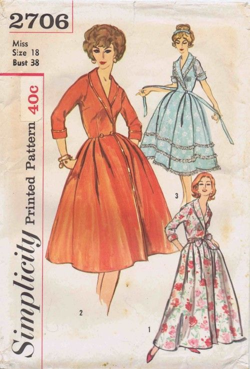 1950's Simplicity 2706 Vintage Sewing Pattern Misses' and Women's Housecoat in Two Lengths:  Housecoat has a shawl collar, kimono sleeves, front closing and flared skirt with soft pleats at front waistline. V. 1 and 2 have button closing at waistline. V. 1 is full length. V. 2 and 3 are street length. V. 2 is bound with contrast bias. V. 3 is trimmed with gathered lace edging.    Size: 18    Bust: 38    Waist: 30    Hips: 40    Copyright: 1958    Pattern is: Uncut, factory folded