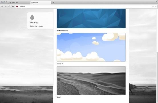 Selección de Temas en la nueva versión del navegador Opera (primera versión basada en Webkit) para Mac Os X  Nuevo Opera basado en webkit ara Mac Os X - Themes