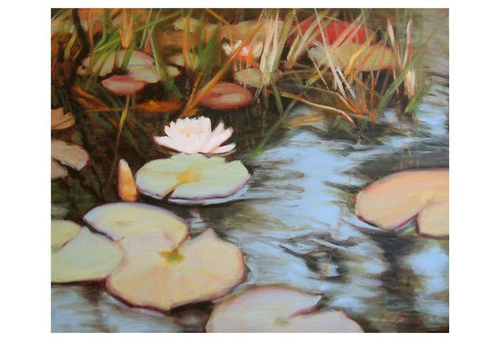 Ann Rhodes, Shadowed Pond   The expressive brush strokes of this original oil painting from artist Ann Rhodes give the piece a captivating, dreamy quality. Growing up in Gadsden, AL, Rhodes always knew she would be an artist. While she now resides in Atlanta with her husband, she maintains a close relationship with the Gadsden Museum of Art through exhibitions and juried shows. Rhodes holds a BFA in Painting and Mathematics from Queens College in Charlotte, NC, ... 24'' x 20''
