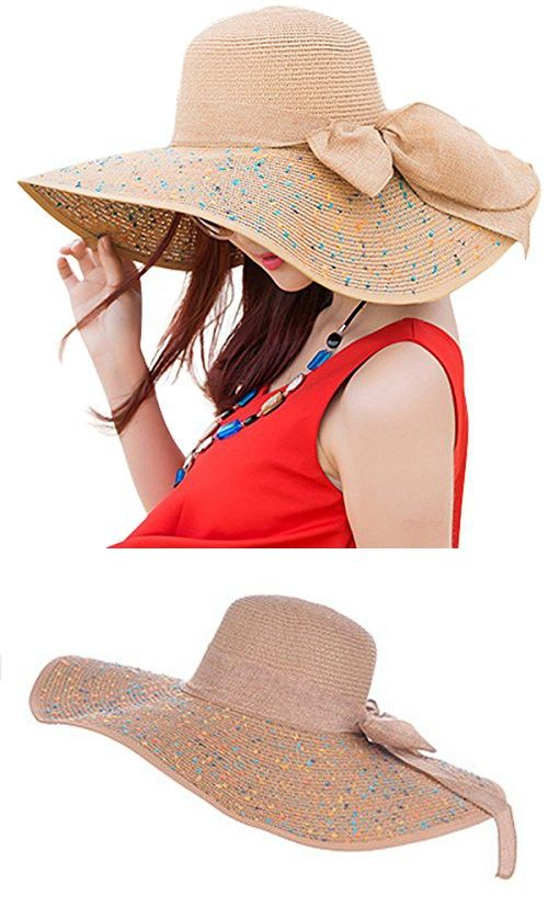 573df0ff6edd0 Lanzom Womens Bowknot Straw Hat Floppy Foldable Roll up Sun Hat Beach Cap  UPF 50+ (Khaki)