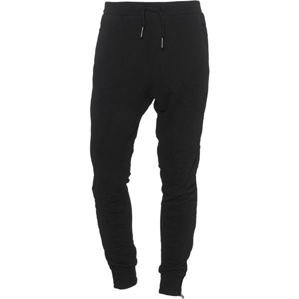 TRUE RELIGION Zip Sweat Black // Cotton sweat pants ($185) ❤ liked on Polyvore featuring mens, men's clothing, men's activewear and men's activewear pants