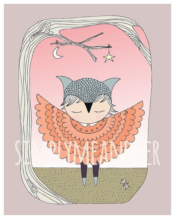 Owl Girl. Art Print. Kids wall art. Nursery art by simplymeandher