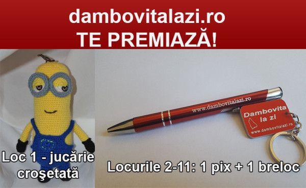 CONCURS! Dambovitalazi.ro te premiază! Primii 11 participanţi vor fi premiaţi cu: Locul 1 – O jucărie croşetată , Locurile 9-11 – 1 pix şi un breloc. Pentru a intra în cursa pentru premiu tot ce trebuie să faci este: 1. Să dai like paginii noastre: https://www.facebook.com/D%C3%A2mbovi%C8%9Ba-la-Zi-1590254…/ 2. Să distribui această postare (share) 3. Să laşi un comentariu la această postare cu...