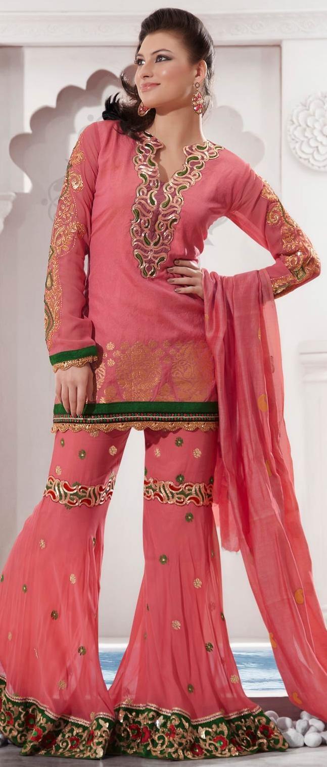 Peach Banarasi Trouser #Kameez @ $90.81 | Shop Now @ http://www.utsavfashion.com/store/sarees-large.aspx?icode=ksx937b