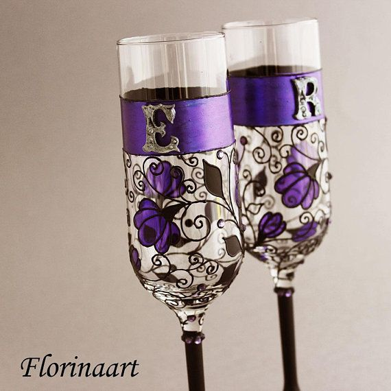 Gothic Personalised Engraved Diamante Crystal Black Champagne Glass Flute