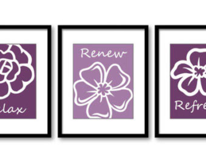Purple Lilac Plum Flowers Prints Flower Set of 3 Relax Refresh Renew Art Print Wall Decor Bathroom Bedroom Modern Minimalist