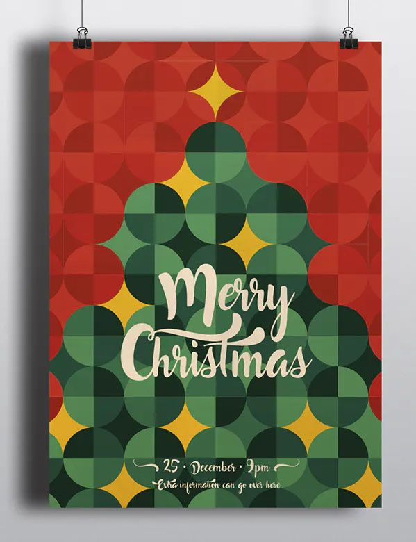 Cool Retro Christmas Flyer Card Template Christmas Flyer Retro Christmas Card Design