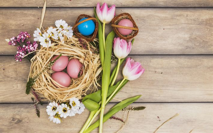 Download wallpapers Easter, christian holiday, April 1, 2018, April 8, Easter eggs, decoration, pink tulips