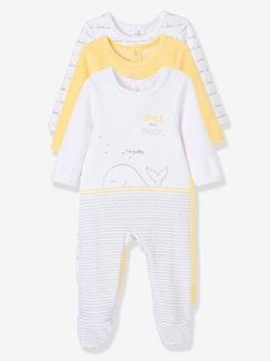 Lote de 3 pijamas estampados espalda con automáticos terciopelo bebé