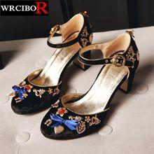 DUŻY ROZMIAR 33-43 Letnie buty damskie sandały wysokie obcasy Ślubne buty 2017 nowych Moda Luksusowe marki kobiet pasek stawu skokowego buty pompy(China (Mainland))