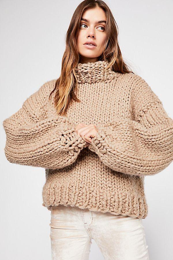 a9a0e9386a Her Turtleneck - Beige Chunky Oversized Knit Sweater - Chunky Sweaters -  Beige Sweaters - Neutral Sweaters - Knit Sweaters - Oversized Fall Sweaters  - Fall ...