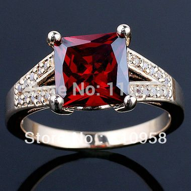 8 x 8 мм камень красный гранат золото отделка аутентичные годовщина свадьбы. стерлингового серебра 925 серебряное кольцо нал R103 размер 6 7 8 9 лучший подарок