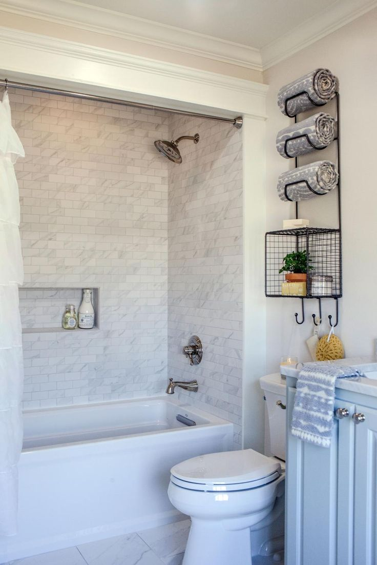 Fixer Upper: Plain Gray Ranch Made Bright and Spectacular. Guest BathroomsSmall  BathroomBathroom IdeasSmall BathtubBathroom ...