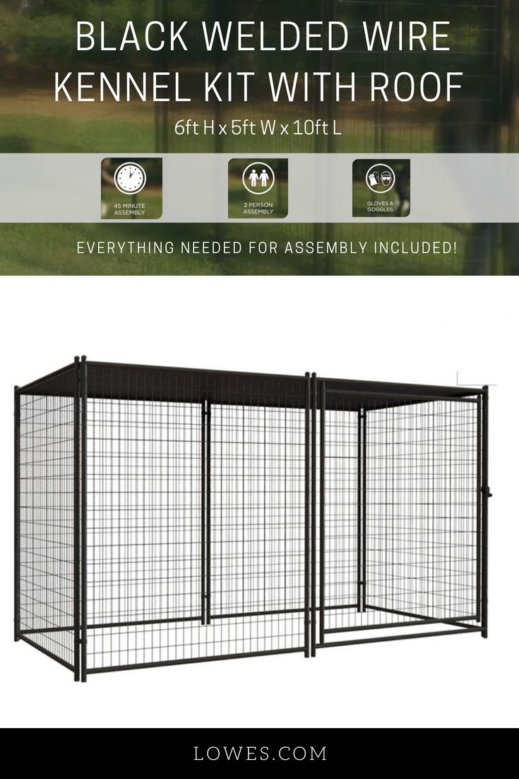 Pet Sentinel 10 Ft L X 5 Ft W X 6 Ft H Preassembled Kit Pet Kennel Lowes Com Pet Kennels Dog Kennel Outdoor Kennel
