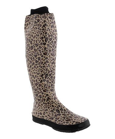 Take a look at this Natural Leopard Rain Boot by Capelli New York on #zulily today! $38 !!
