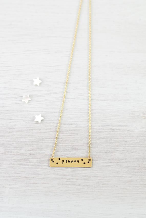 Pisces necklace - Gold Pisces zodiac necklace with stars - Pisces star sign necklace - Pisces horoscope necklace - Gold Pisces bar necklace