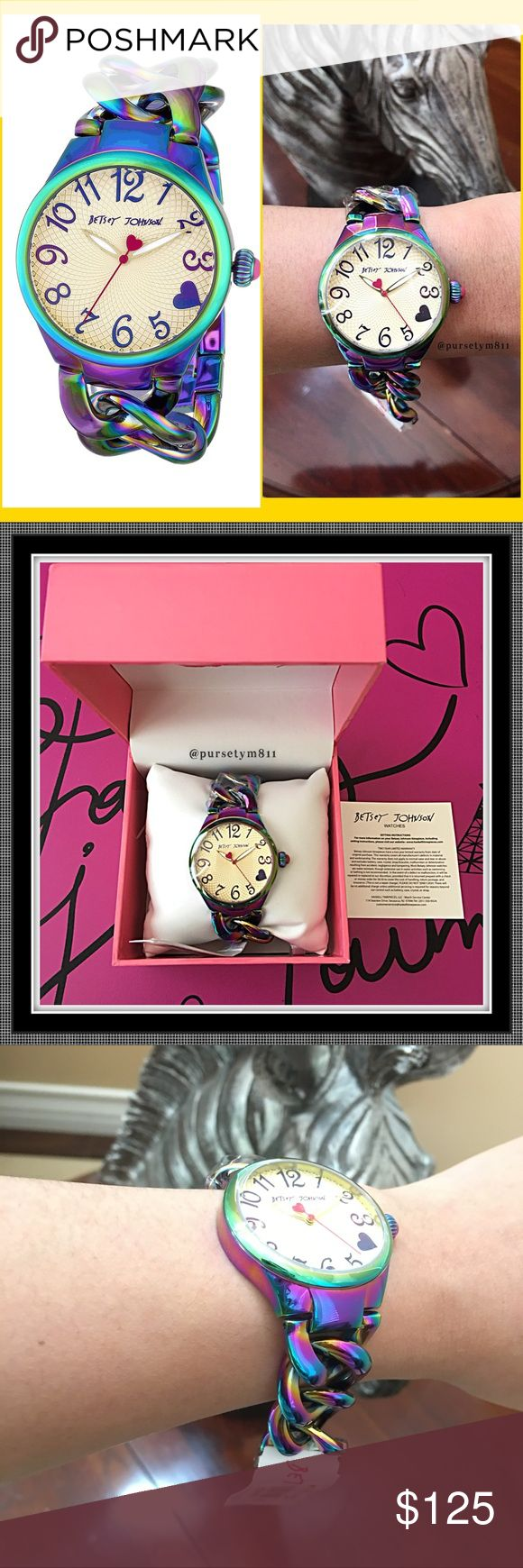 Authentic Betsey Johnson Watch Show off the charm and playfulness of the colors of the rainbow, personified w/ this eye-catching Betsey Johnson watch. A multicolor, iridescent case and round bezel beautifully offset a light champagne textured dial, set w/ numeral markers. Boasting Quartz movements. New w/ tag and box.  GORGEOUS  No trade ❌ Betsey Johnson Accessories Watches