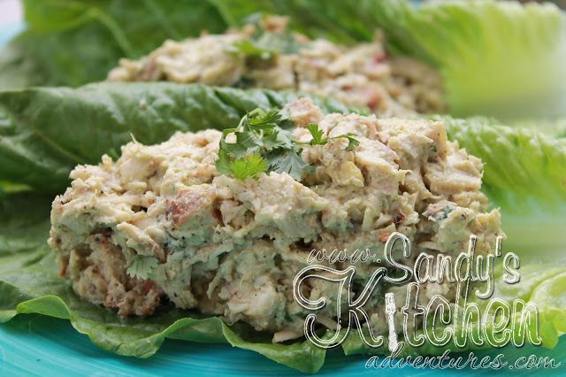Sandy's Kitchen: Avocado Chicken Salad  For TSFL/Medifast: 1 lean, 2.37 condiments and 1 healthy fat  Looks delicious!