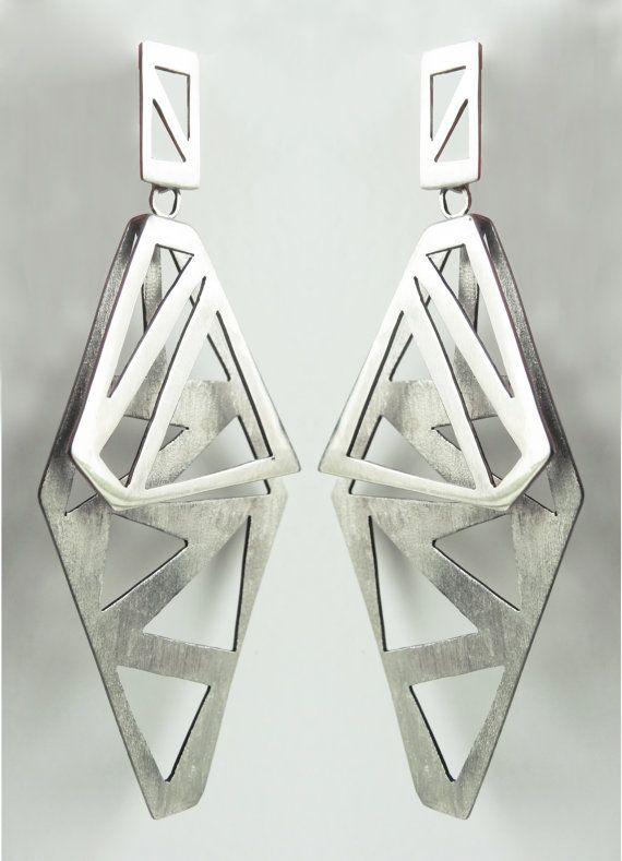 Bipolar Sterling Silver Long Earrings  by AnaBragancaJewellery