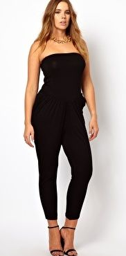 Dress Your Curves: Plus Size Jumpsuits.  ASOS.    ASOS CURVE Exclusive Bandeau Jumpsuit / Buy it here