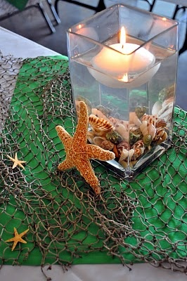 Simple centerpiece. Nice for a fish/seafood dinner.