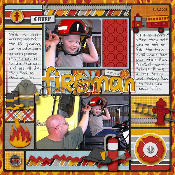 fireman scrapbook album | Layout Highlights