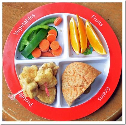 Homemade nuggets, rolls, carrots, peppers, and oranges. #myplate lunch idea!