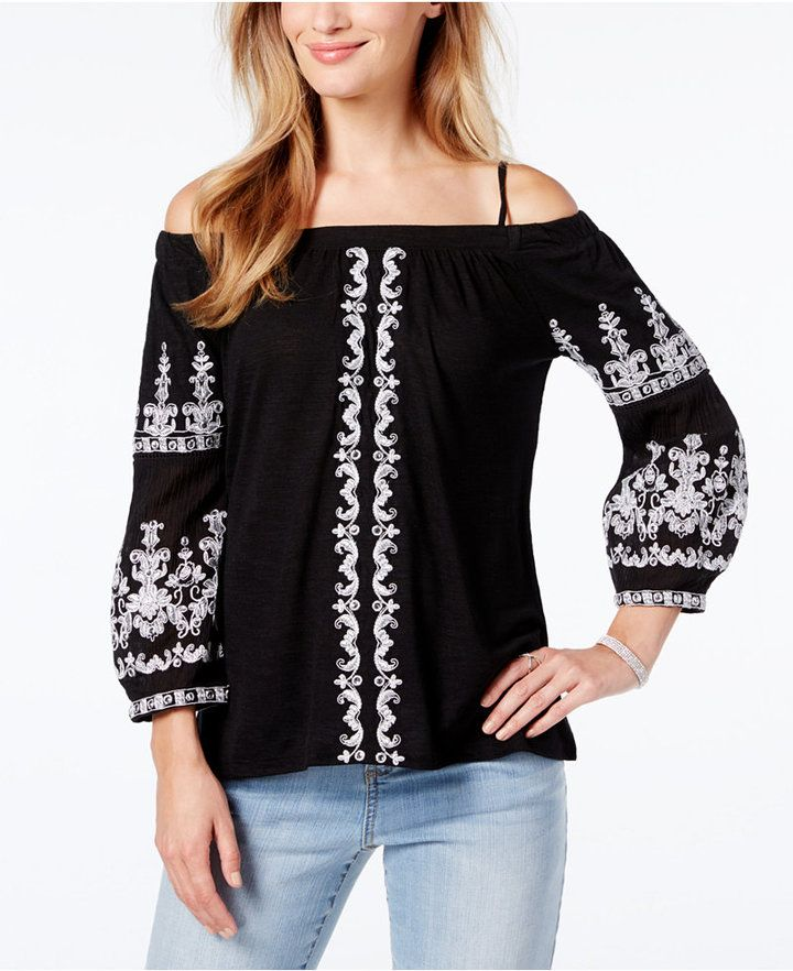 5a71117dbc05a8 INC International Concepts Petite Embroidered Cold-Shoulder Top ...
