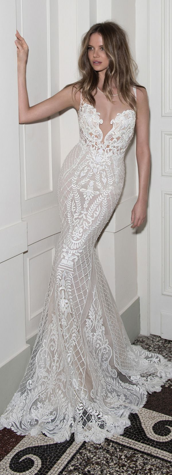 sexy chic mermaid illusion berta bridal wedding dresses