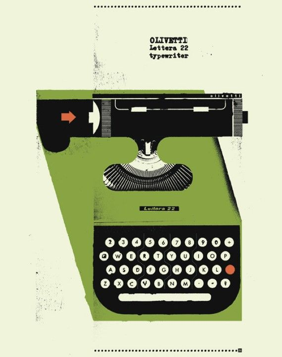 1950's Olivetti Typewriter Poster 12 x 16 by curtmerlo on Etsy, $15.00