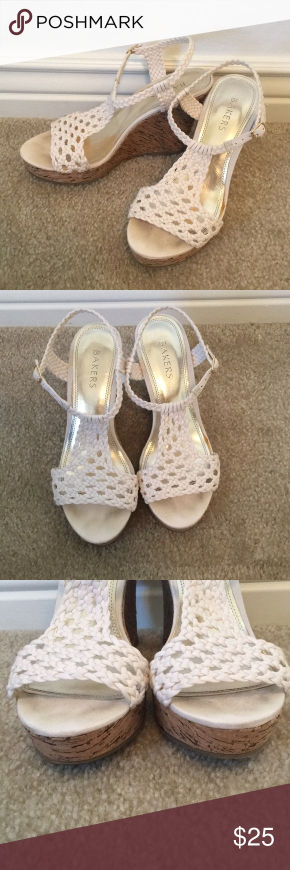 """Bakers cream wedge Bakers cream color wedge. Only worn once, these are in excellent condition. These are so cute, but sadly they no longer fit me. The wedge height is 4"""". The sticker on the bottom show size 7.5 but it's so small I can't capture in photograph. Bakers Shoes Wedges"""