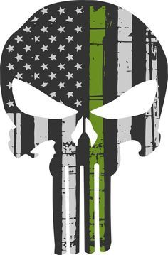 Punisher Skull American Flag Olive Drab Military Sticker Graphic - Many Sizes #JakeDesigning