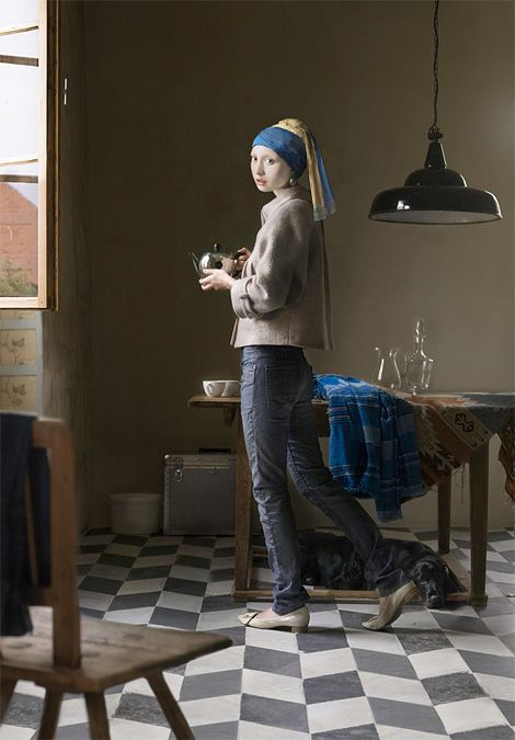 Dorothee Golz's take on Vermeer's 'Girl With a Pearl Earring'. #art #painting