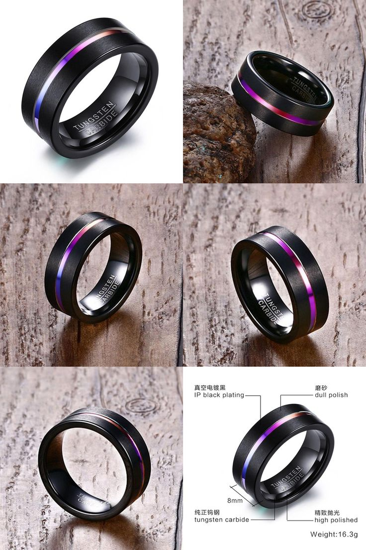 [Visit to Buy] NEW high quality 8MM Black Tungsten Ring For Men Women Trendy Rainbow Carbide Groove Rings Jewelry USA Size Free postage #Advertisement