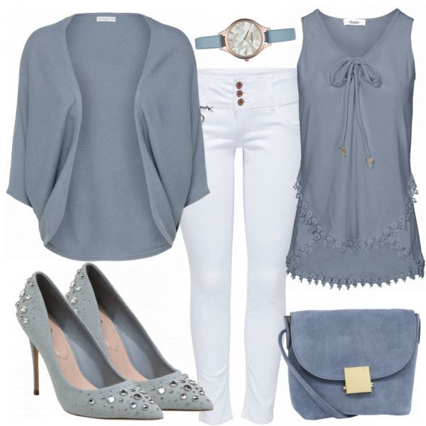 Rauchblau Damen Outfit Komplettes Freizeit Outfit günstig