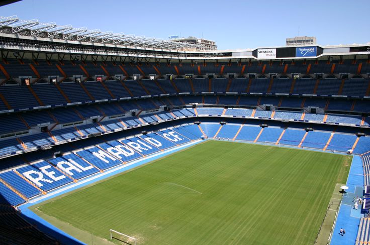 The private football field with the stadium all from me ! The stadium is named by Santiago Bernabeu .