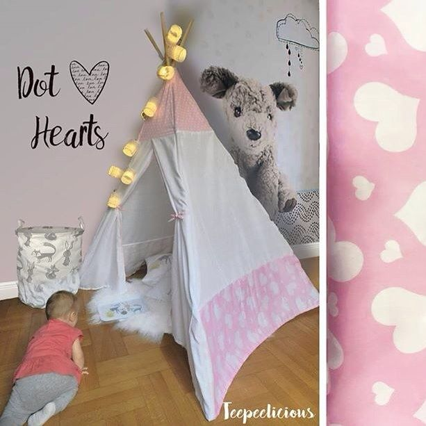 #love is in the air  #teepee #hearts #giftideas #handmade #teepeelicious #pinkteepee #pink #wallpaper #wallart #wallcoverings #stringlights #nurserydecor #kidsroominspo #kidsroomdecor #babygirl #girlroomdecor #storagebox #storagebag