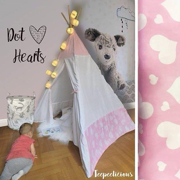 #love is in the air  #teepee #hearts #giftideas #handmade #teepeelicious #pinkteepee #pink #wallpaper #wallart #wallcoverings #stringlights #nurserydecor #kidsroominspo #kidsroomdecor #babygirl #girlroomdecor #storagebox #storagebag