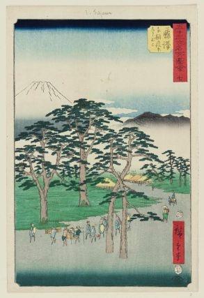 "Utagawa Hiroshige (1797-1858), Fujisawa, Nanki no Matsubara hidari no Fuji, 七 藤沢 南期の松原在り不二), 1855. From the series ""Famous Sights  of the Fifty-three Stations"" (Gojūsan tsugi meisho zue, 五十三次名所図会). Signed Hiroshige hitsu (広重筆). Nishiki-e ōban tate-e), cm. 34,5 x 22,5. Publisher: Tsutaya Kichizō (Kōeidō). An example of this wonderful print will be soon on auction at Florence Numer Nine."
