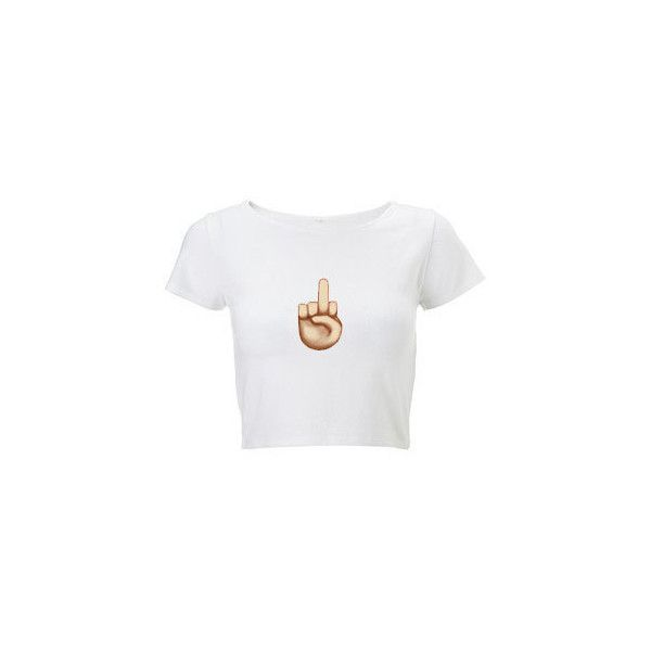 Middle Finger Emoji Crop Top (16 CAD) ❤ liked on Polyvore featuring tops, shirts, crop tops, crop, vintage shirts, vintage crop top, vintage henley shirt, white top and crop shirts